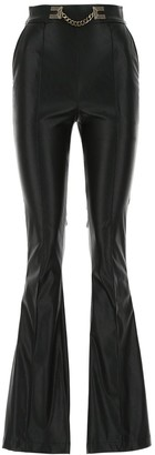Elisabetta Franchi Faux Leather Flared Trousers