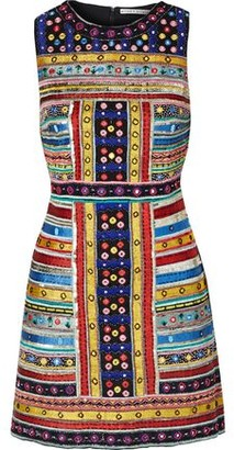 Alice + Olivia Malin Embellished Chiffon Mini Dress