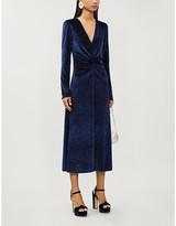 Rotate by Birger Christensen Glitter-embellished velvet midi dress