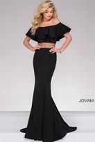 Jovani Off the Shoulder Illusion Waist Prom Dress 49926