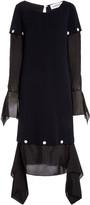 Lanvin Detachable Wool and Silk Midi Dress