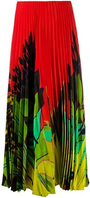 Valentino Mirrored Orchid print pleated skirt