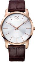 Calvin Klein Watch, Men's Swiss City Brown Leather Strap 43mm K2G21629