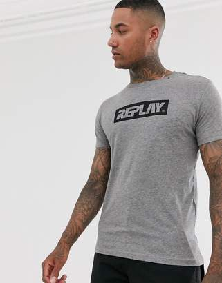 Replay block logo t-shirt in grey