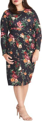 Rachel Roy Svana Floral Ruched Long Sleeve Sheath Dress