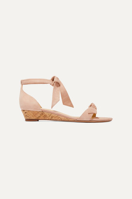 Alexandre Birman Clarita Bow-embellished Suede Wedge Sandals