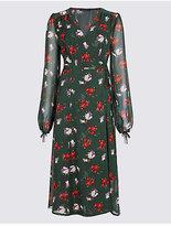 M&S Collection Floral Print Bubble Sleeve Wrap Midi Dress