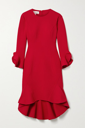 Michael Kors Ruffled Stretch Wool-blend Cady Dress - Crimson