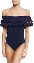 Karla Colletto La Dolce Vita Off-the-Shoulder One-Piece Swimsuit