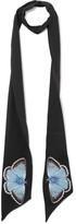 Alexander McQueen Embroidered silk-blend crepe de chine scarf