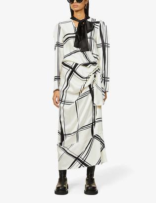 Ports 1961 Geometric-print silk-blend midi wrap dress