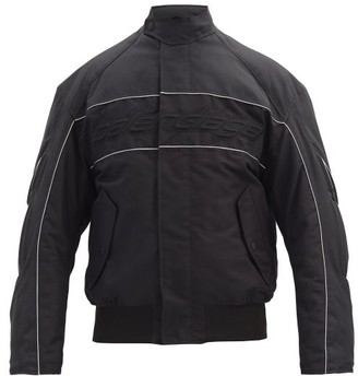 Balenciaga Logo-embroidered Canvas Biker Jacket - Black