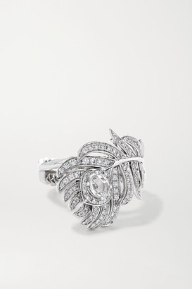 Boucheron Plume De Paon Small 18-karat White Gold Diamond Ring - 52