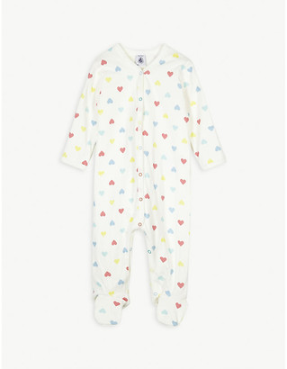 Petit Bateau Heart-print cotton all-in-one 3-24 months