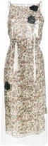 Floral Print midi dress with transparent overlayer