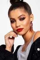 boohoo Olivia Burgundy Statement Drop Earrings