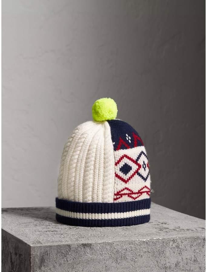 Burberry Pom-pom Wool Cashmere Patchwork Beanie