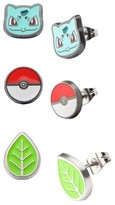 Pokemon Bulbasaur, Green Plant Bulb and Poké Ball Stainless Steel Stud Earrings Set