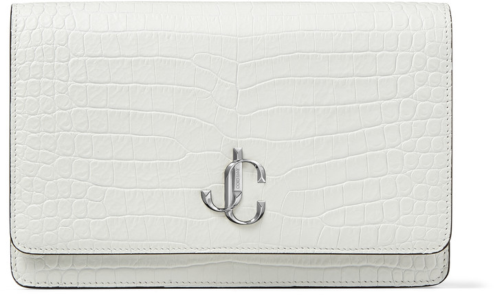 Jimmy Choo PALACE Latte Croc-Embossed Leather Chain Wallet with JC Emblem