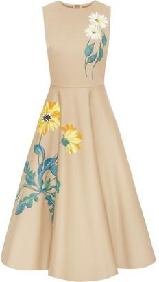 Oscar de la Renta Floral-Print Poplin Dress