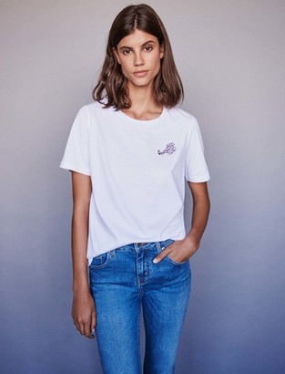 Maje Embroidery and rhinestone cotton t-shirt