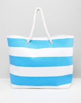 South Beach Bright Blue Stripe Beach Bag