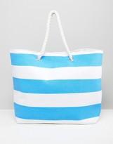 South Beach Bright Blue Stripe Beach Bag