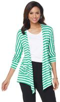 Wendy Williams Open Jersey Cardigan with Pockets - Stripe