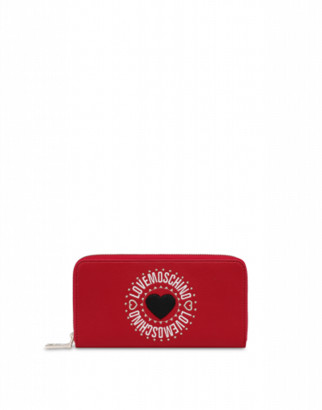 Love Moschino Zip Around Wallet With Heart Woman Red Size U It - (one Size Us)