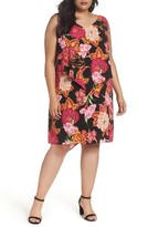 Tahari Plus Size Women's Fly Away Tiered Floral Print Shift Dress