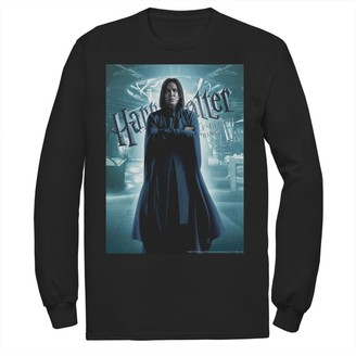 Men's Harry Potter Half-Blood Prince Snape Character Poster Long Sleeve Graphic Tee