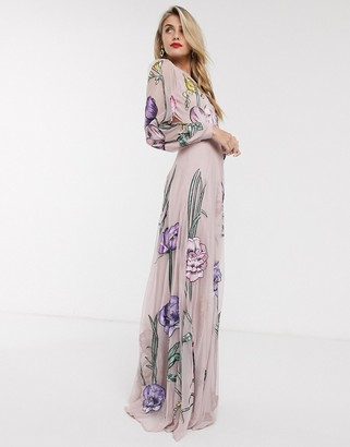 Asos Edition EDITION maxi dress with cut out back and oversized floral embroidery-Pink