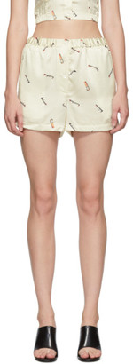 Alexander Wang Off-White Printed Tap Shorts