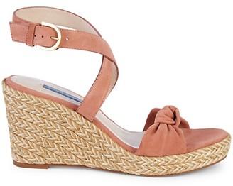 Stuart Weitzman Suede Ankle-Strap Espadrille Wedge Sandals