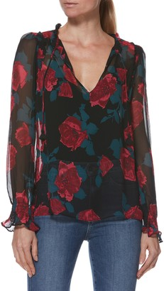 Paige Alessia Floral Long Sleeve Silk Blouse