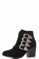 Quiz Black 4 Buckle Western Ankle Boots