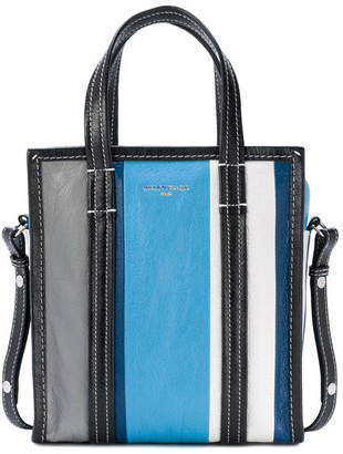 Balenciaga Shopper Bazar Striped XS Blue Grey White
