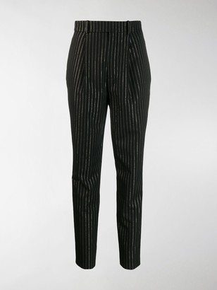 Saint Laurent High-Waisted Metallic Stripe Trousers