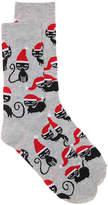 K. Bell Women's Santa Cats Women's's Crew Socks -Grey