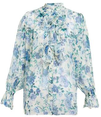 Zimmermann Moncur Floral-print Silk-chiffon Blouse - Womens - Blue Print