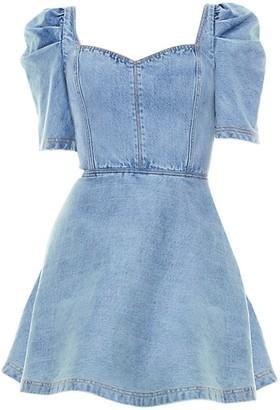 Alice + Olivia Maribel Puff-Sleeve Denim Dress