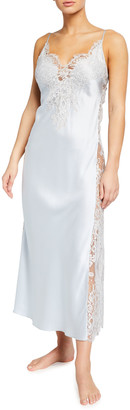 Christine Lingerie Lace-Trim Side Panel Long Satin Nightgown