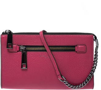 Marc Jacobs Raspberry Leather Small Gotham Crossbody Bag