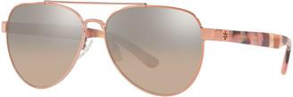 Tory Burch Mirrored Metal Aviator Sunglasses