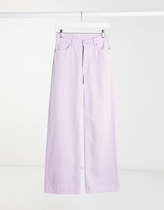 Monki Yoko organic cotton wide leg jeans in lilac