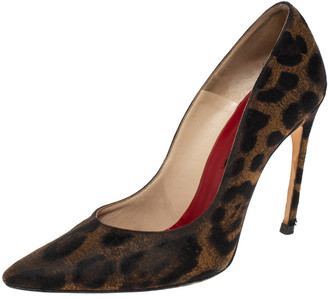 Carolina Herrera Leopard Print Fabric Pointed Toe Pumps Size 39