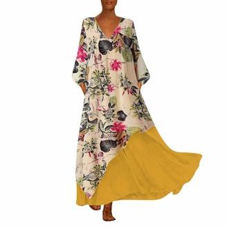 Toamen Women Dresses for Women Sale Toamen Plus Size Vintage Two Pieces Ethnic Print Long Sleeve Casual Loose Party Swing Maxi Dress (M-Yellow 22)