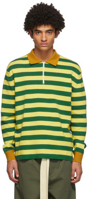 Sunnei Green and Yellow Striped Long Sleeve Polo