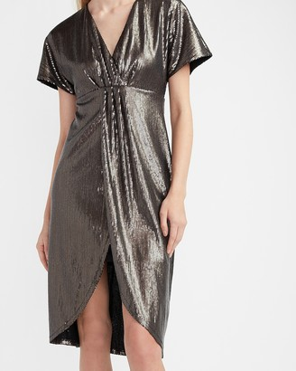 Express Sequin Wrap Front Dress