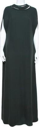 Valentino Dark Green Crepe Corded Neckline Caped Maxi Dress L